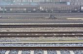 pic of railroad yard  - Industrial Rail Yard as Symbol of Transportation Infrastructure - JPG