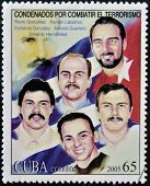 CUBA - CIRCA 2005: Stamp printed in Cuba shows the five Cubans imprisoned in the United States