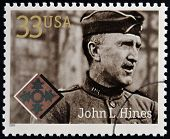 Stamps printed in USA dedicated to Military or Armed Forces shows John L. Hines