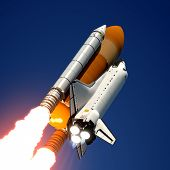image of orbit  - Space Shuttle Flying In The Sky - JPG