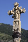 Medieval stone cross in Andorra poster