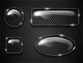 foto of oval  - Glass buttons on textured background - JPG