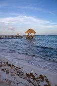 foto of yucatan  - wooden dock at the caribbean sea at Yucatan Peninsula - JPG