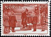 NORWAY - CIRCA 1982: a stamp printed in Norway shows King Haakon VII King of Norway circa 1982