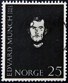 NORWAY - CIRCA 1963: A stamp printed in Norway shows Portrait of Edvard Munch circa 1963