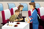 stock photo of flight attendant  - A vector illustration of flight attendant serving a passenger in an airplane - JPG