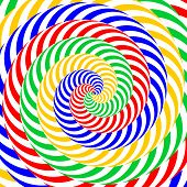Design Colorful Whirlpool Circular Movement Illusion Background. Abstract Striped Distortion Backdro
