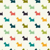 foto of westie  - Seamless pattern with dog silhouettes on polka dot background - JPG