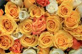 image of centerpiece  - Yellow and white roses in a wedding centerpiece - JPG