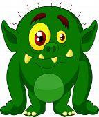image of ogre  - Vector illustration of Green monster cartoon isolated on white background - JPG
