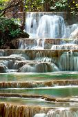 picture of cataract  - Huay mae kamin waterfall in Kanchanaburi Thailand - JPG