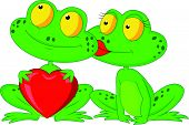 pic of cute frog  - Vector illustration of Cute cartoon frog couple holding red heart - JPG