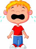stock photo of crying boy  - Vector illustration of Young boy cartoon crying - JPG