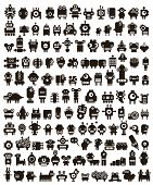 stock photo of monsters  - Mega set of small monsters and robots - JPG