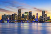 stock photo of florida-orange  - Famous cIty of Miami Florida summer sunset USA - JPG