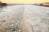 Ice-breaking opens way Neva river Palace Bridge. St.-Petersburg