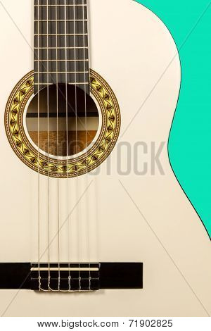 Classical White Acoustic Guitar Fragment With Strings And Soundboard Rosette