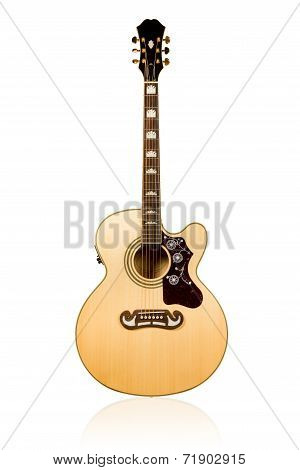 Classical Acoustic Guitar With A Patterned Plate