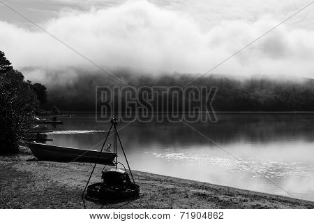Evening Misty View Of A  Lake In Quebec Country