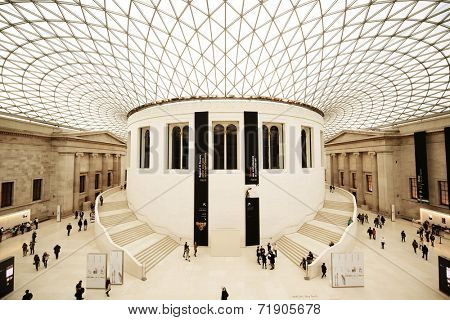 LONDON, UK - Oct 22: British Museum interior on October 22, 2013 in London, UK. Established in 1753 with collection of 8 million, it is among the largest in the world.