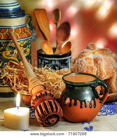 Hot Chocolate And Sweet Bread Pan De Muerto