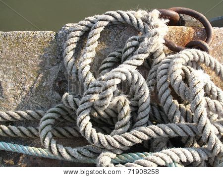 Harbour Wall Seascape With Ropes And Tying Ring