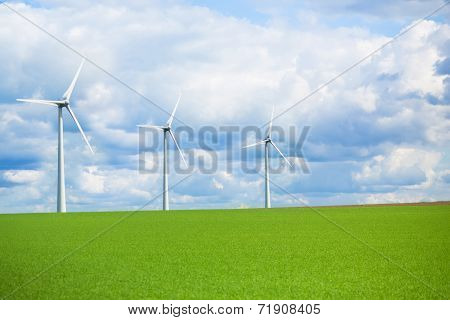 Modern Windmill In A Field