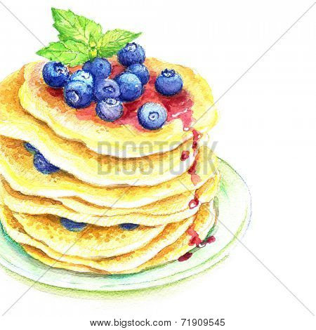 Painted watercolor pancakes with blueberries