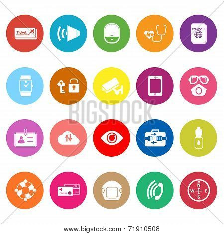 Passenger Security Flat Icons On White Background