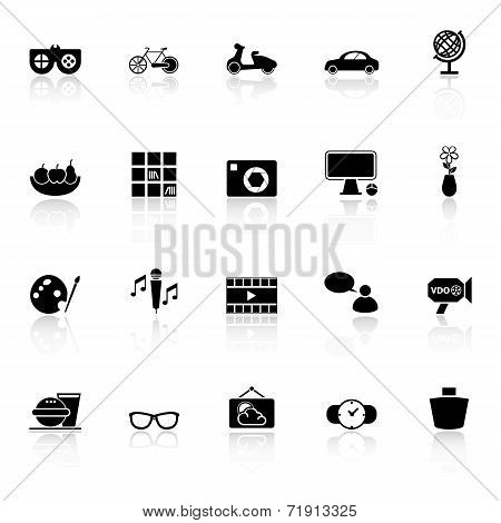 Favorite And Like Icons With Reflect On White Background