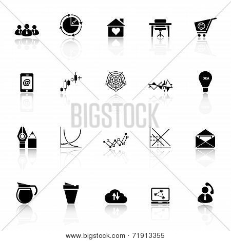 Virtual Organization Icons With Reflect On White Background
