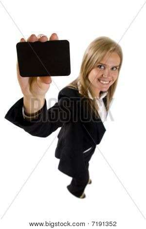 Business Woman Presenting A Card