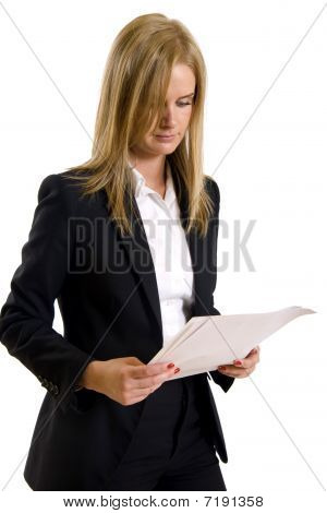 Serious Woman Read Document