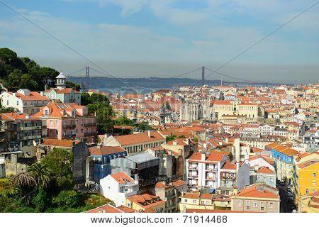 25 de Abril Bridge and Alfama, Lisbon, Portugal