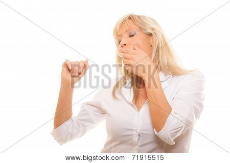 Sleepy Tired Woman Yawning Covering Mouth With Hand