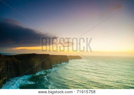 Cliffs Of Moher At Sunset In Co. Clare Ireland Europe.