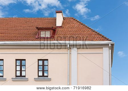 House Roof With Chimneys And Dormer
