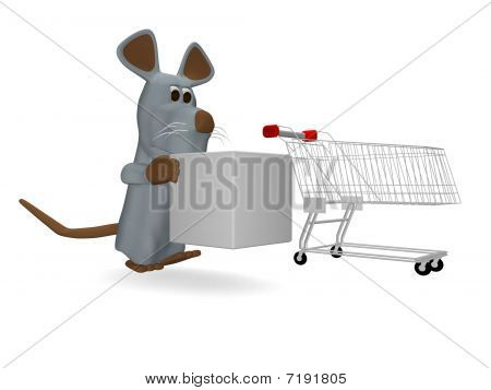 cute mouse with shopping cart and cube