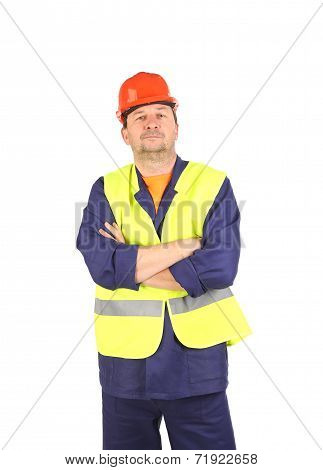 Worker in hard hat and vest.