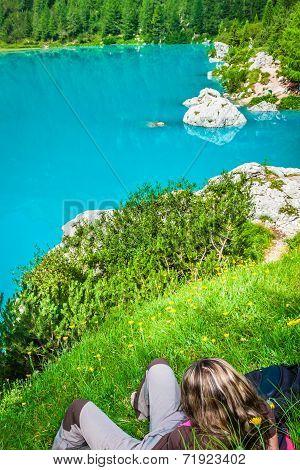 Alpin Lake Sorapis - Italian Dolomites Stunning Landscape.