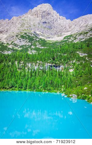 Turquoise Sorapis Lake  In Cortina D'ampezzo, With Dolomite Mountains And Forest - Sorapis Circuit,
