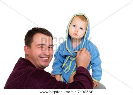 Happy Father Corrects The Son Gown