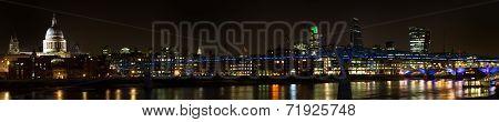 Panorama Of The Millenium Bridge At Night