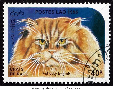 Postage Stamp Laos 1995 Red Tabby Longhair, Domestic Cat
