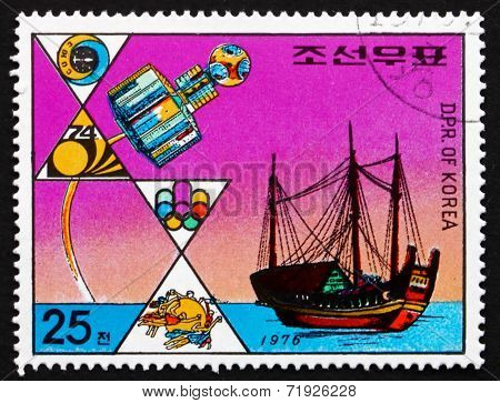 Postage Stamp North Korea 1976 Satellite And Junk