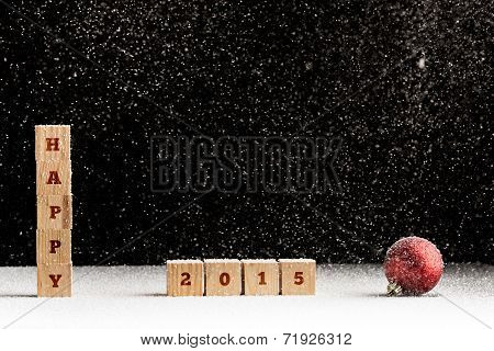 New Year 2015 Background With Falling Snow