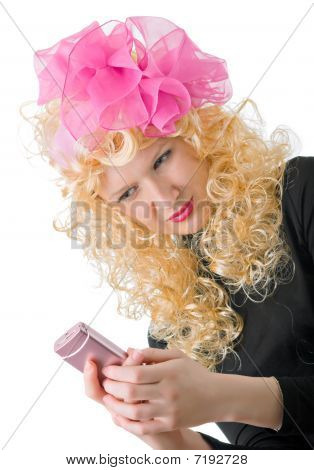 Blonde With A Big Pink Phone
