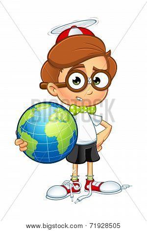 Cartoon Nerd Boy Character