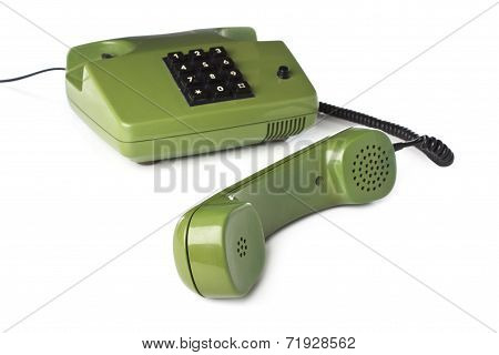 Old Phone green on a white background