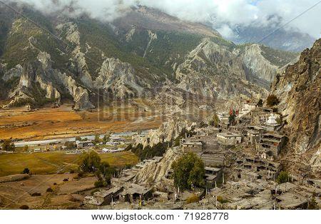 Braga, Little Village In The Himalayas, Annapurna Conservation Area, Nepal.